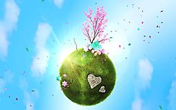Зеленая планета, сакура и голубое небо
