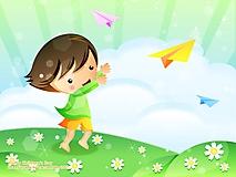 Девочка запускает самолетики