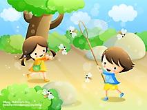 Дети ловят бабочек