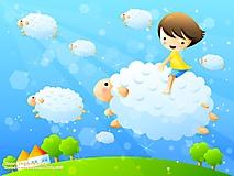 Девочка летает на барашке