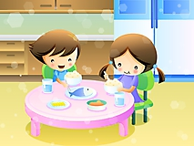 Дети завтракают