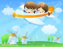 Дети летают на самолетике