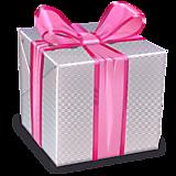 Коробка с розовой лентой